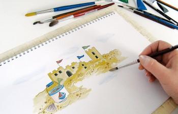 Εικονογράφηση προσκλητηρίου για παιδικό πάρτι στην παραλία